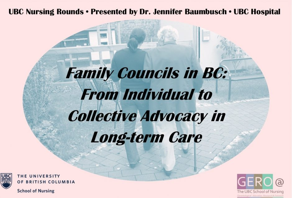 Family Councils in BC presented by Dr. Jennifer Baumbusch